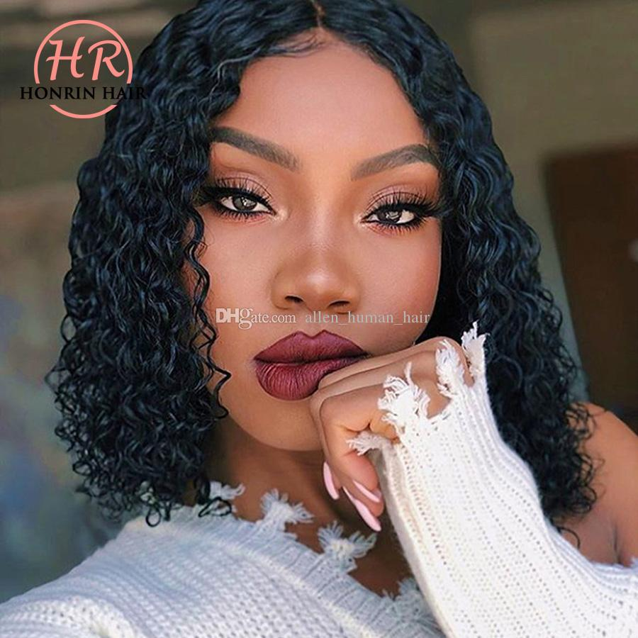Honrin Hair Short Bob Curly Lace Front Wig Brazilian Virgin Human Hair Deep Curly Full Lace Wig Pre Plucked 150% Density Baby Hairs