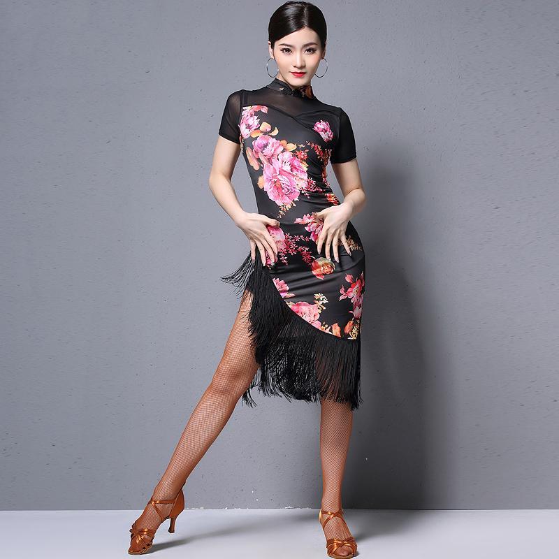 New Latin Dance Rock Weibliche Erwachsene Praxis Fringe Kleider Professional Latin Leistung Cheongsam Kleid für Frauen DQL1223