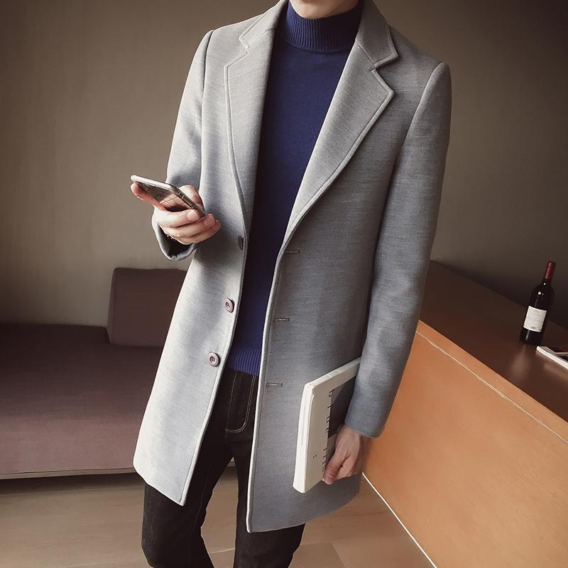 Mezclas de lana para hombres 2021 de estilo rápido Hombres de moda de ocio chaquetas de tela de lana de ocio hebilla abrigo largo con cinturón con una zanja de solo pecho