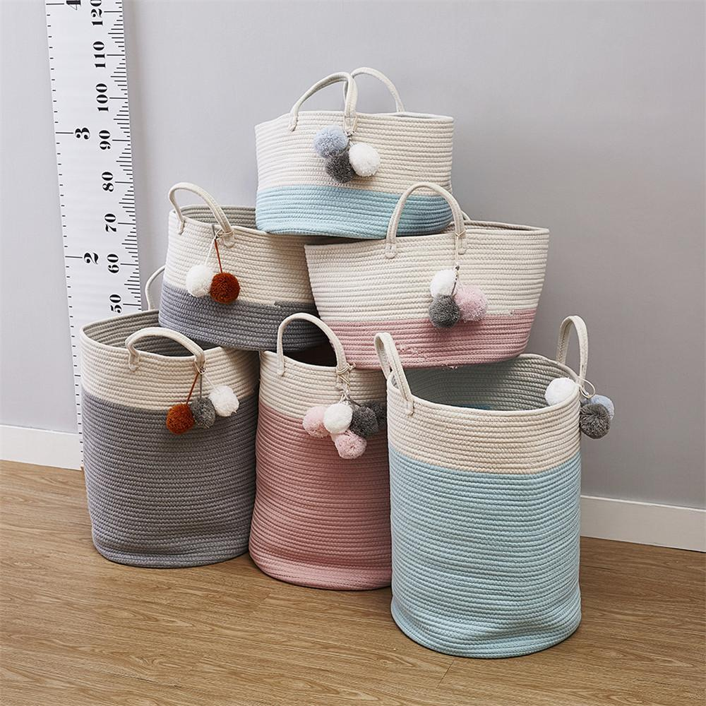 Ins New Cotton Rope Woven Launchy Pain Pompommentments Washing Dirty Clothes Storage Bin Kids Toys Foldable Hab T200416