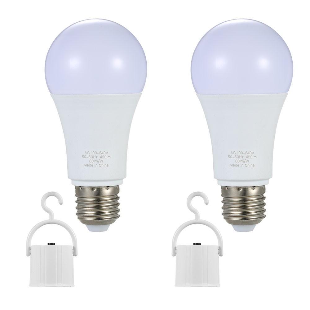 2PCS LED d'urgence Ampoule lampe E26 / E27 6W Ampoules rechargeables pour le jardin Éclairage extérieur Camping