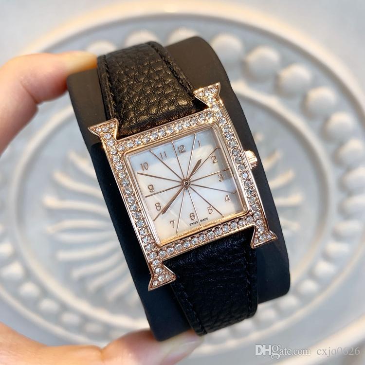 2019 Moda Kadın Elbise İzle Özel Tasarım Yeni lüks Saatler popüler bayan moda İzle hakiki deri saat Relojes De Marca Mujer