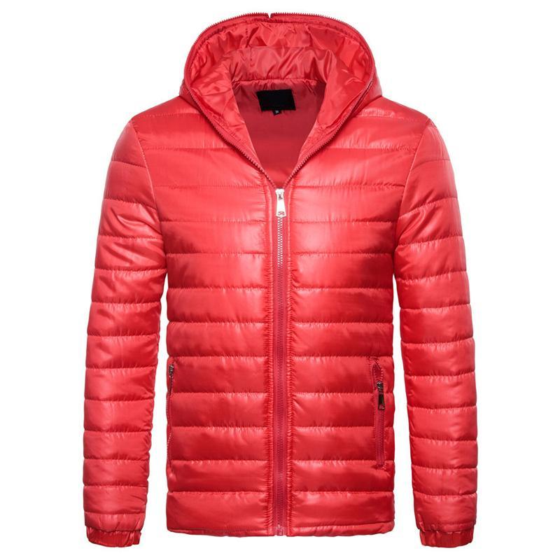 Мужские проложенный пузыря с капюшоном пальто Puffer ватные куртки зима теплая Bomber Outwear