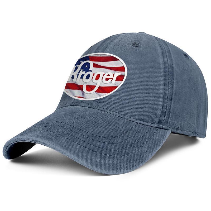 Kroger Супермаркет Магазины Бакалея унисекс Denim бейсболки прохладно спортивные персонализированные модные шляпы американский флаг флэш-Gold Vintage Старый
