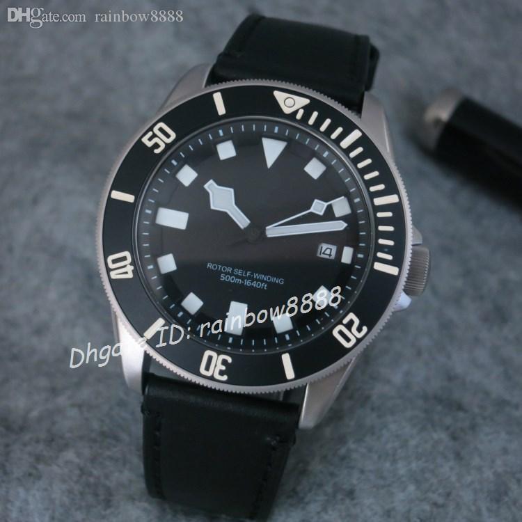 Montre de luxe pour homme couronne de montre mécanique 43MM montre-bracelet noir bracelet en cuir Luminors casual male horloge