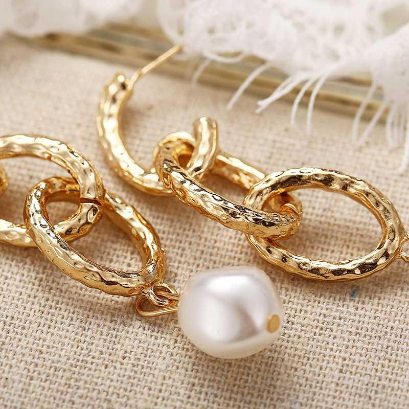 Modyle Fashion elegant pearl long earrings created large simulated pearl chain earrings for wedding party gift 2020