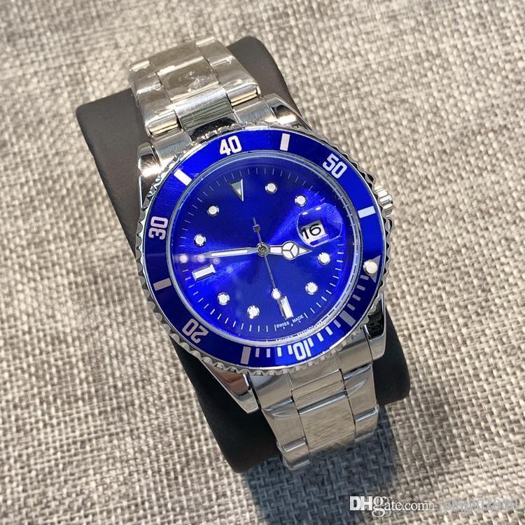 moda de alta qualidade clássico Mens Watch rolo moldura Hardlex aço inoxidável vidro com calendário fecho dobrável de quartzo relógio de pulso mens luxo