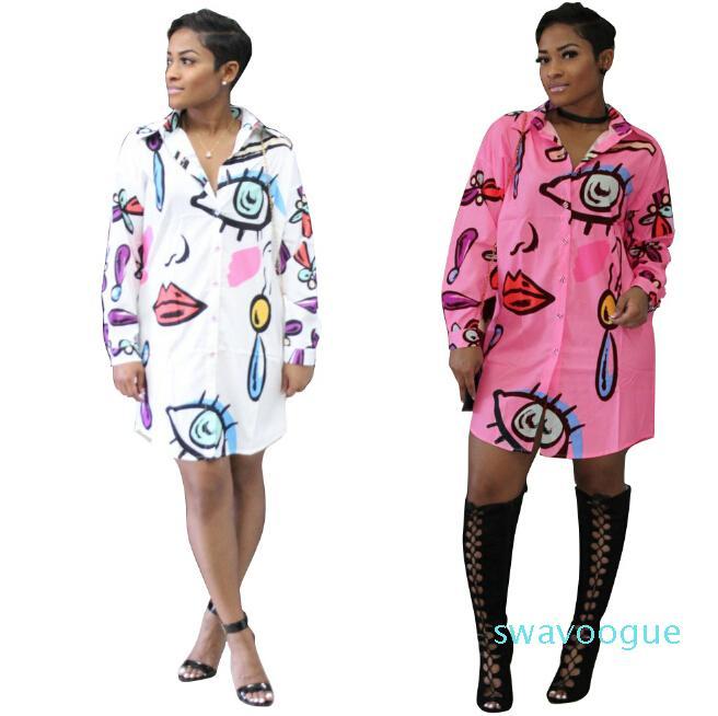 Moda Abiti Casual Donne Donne Abiti da camicia stampati Elegante Mini Dressing Plus Size Abbigliamento