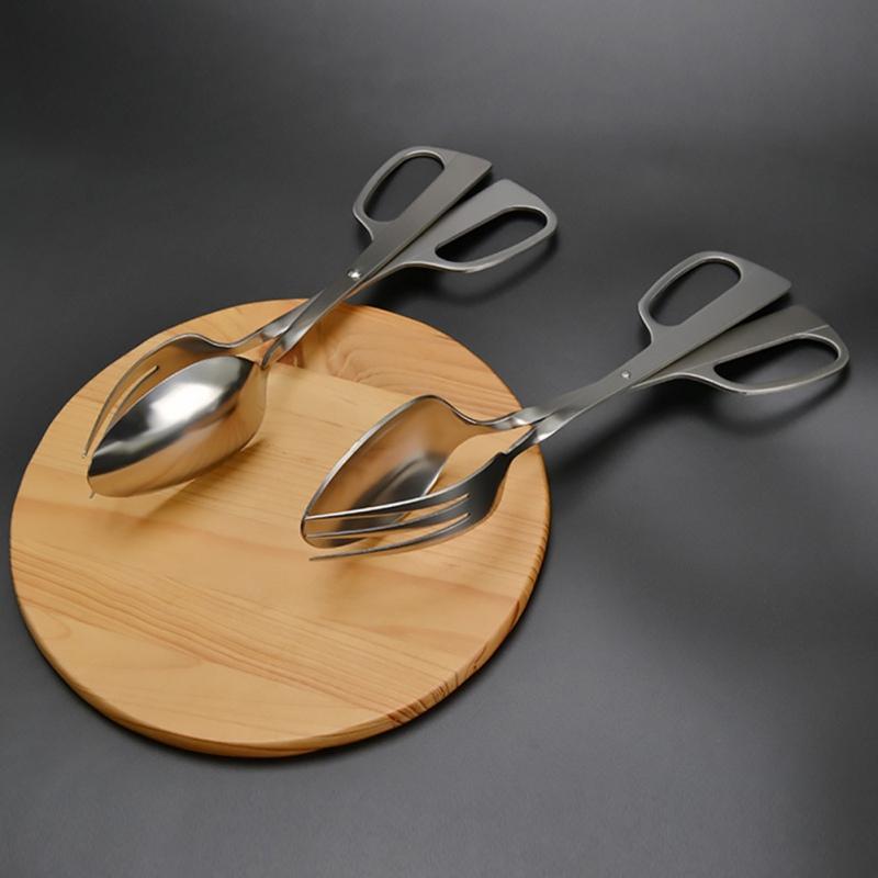 Acero inoxidable Ensalada Clip Clip Espesar Espejo Alimentos Pan clip de plata de cocina Ensalada de herramientas