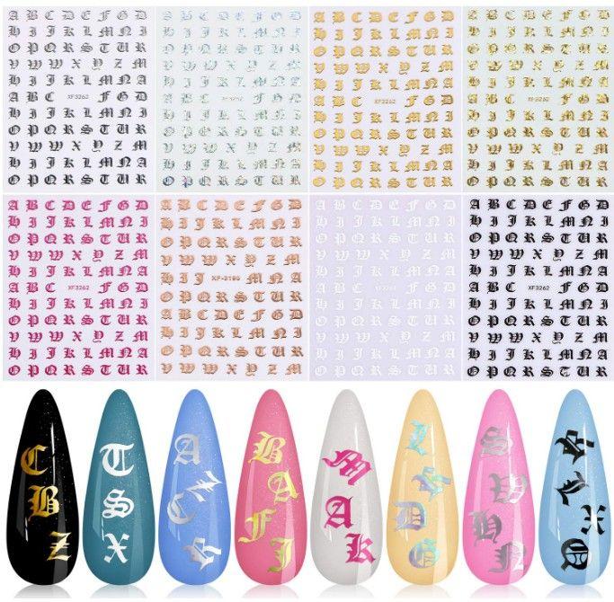 Holographic Brief-Nagel-Kunst-Aufkleber, 8 Farben Letter Words alte englische Alphabet Nagel-Abziehbilder Ultra Thin gummiert Charakter Nail ADHESI