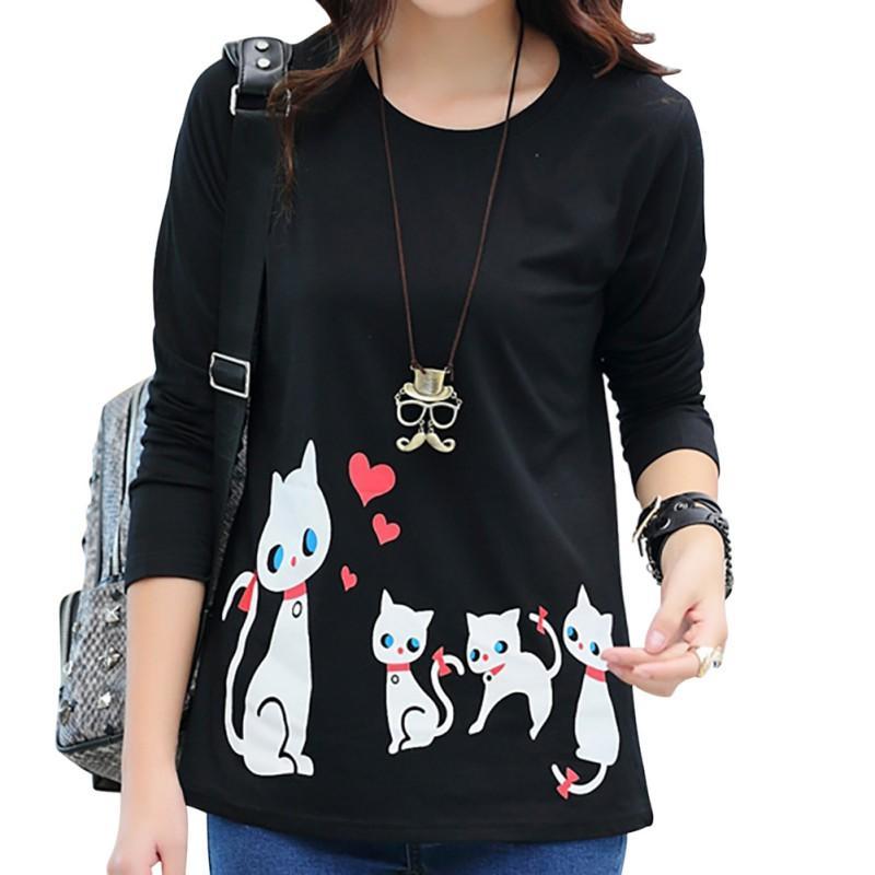 Autunno casuale Wild Women T-shirt girocollo stampa del gatto Pullover manica lunga di base che basa la camicia