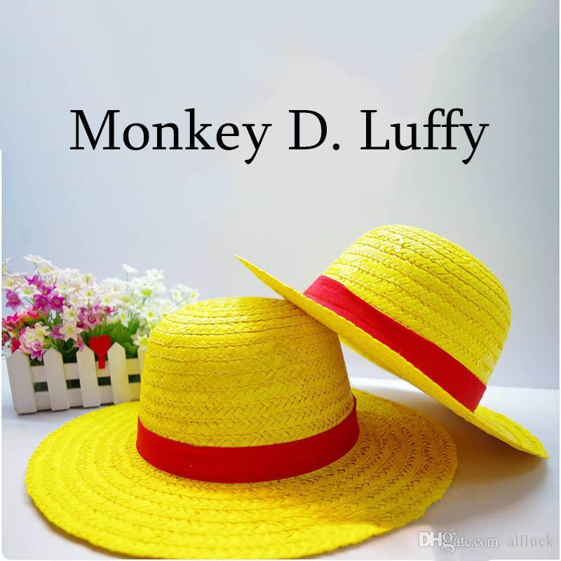 One Piece Sun Hat Summer Wide Straw Cap For Coser Beach Resort Headwear Brim Caps Luffy New Fashion Costume Hats