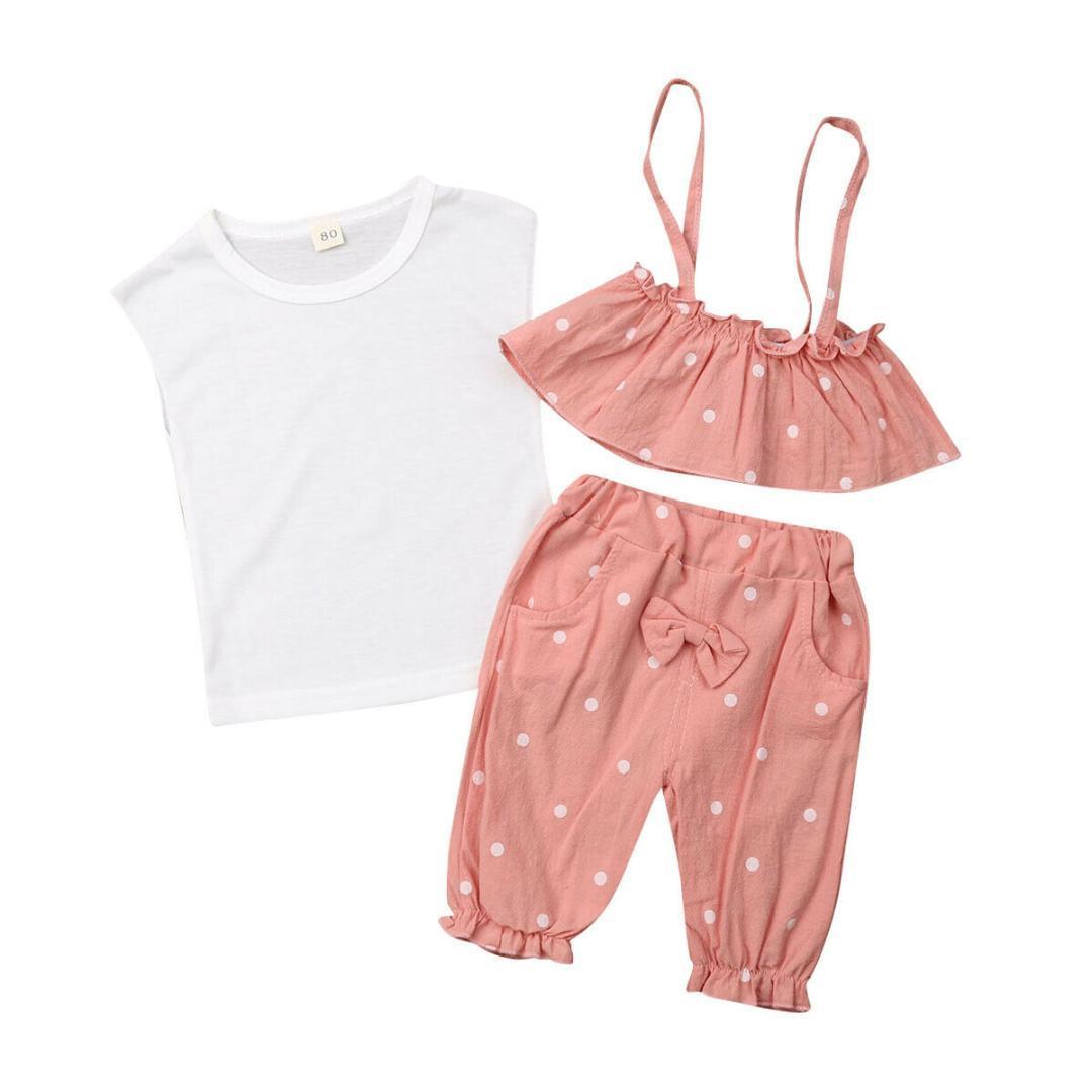 Kids Baby Girl Summer Outfit Clothes Vest T-shirt Tops+Shorts Pants Sunsuit 3PCS
