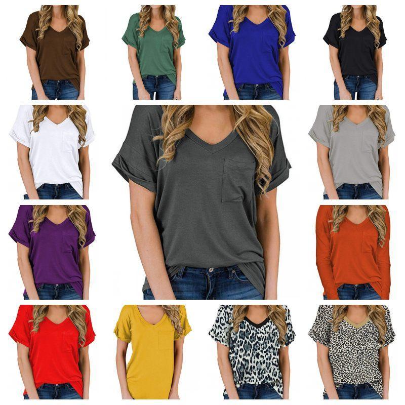 26 couleurs pour femmes T-shirt décontracté T-shirts d'été à manches courtes couleur unie col V Pull de poche Hauts Vêtements pour femmes Vêtements 8205