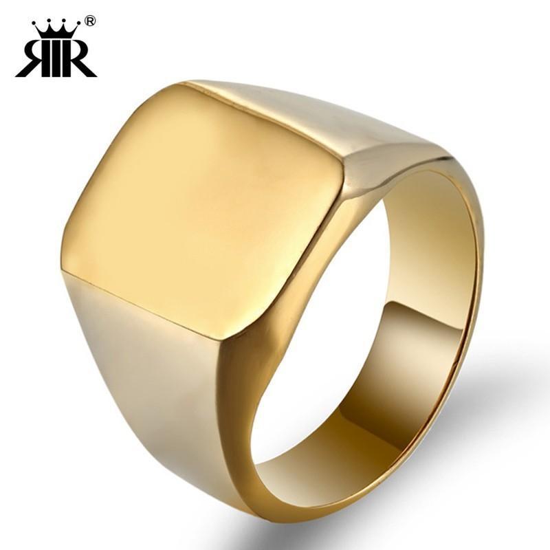 RIR мода простой квадрат большой ширины печатка кольца серебро золото черный титан нержавеющая сталь байкер кольцо для мужчин палец ювелирные изделия