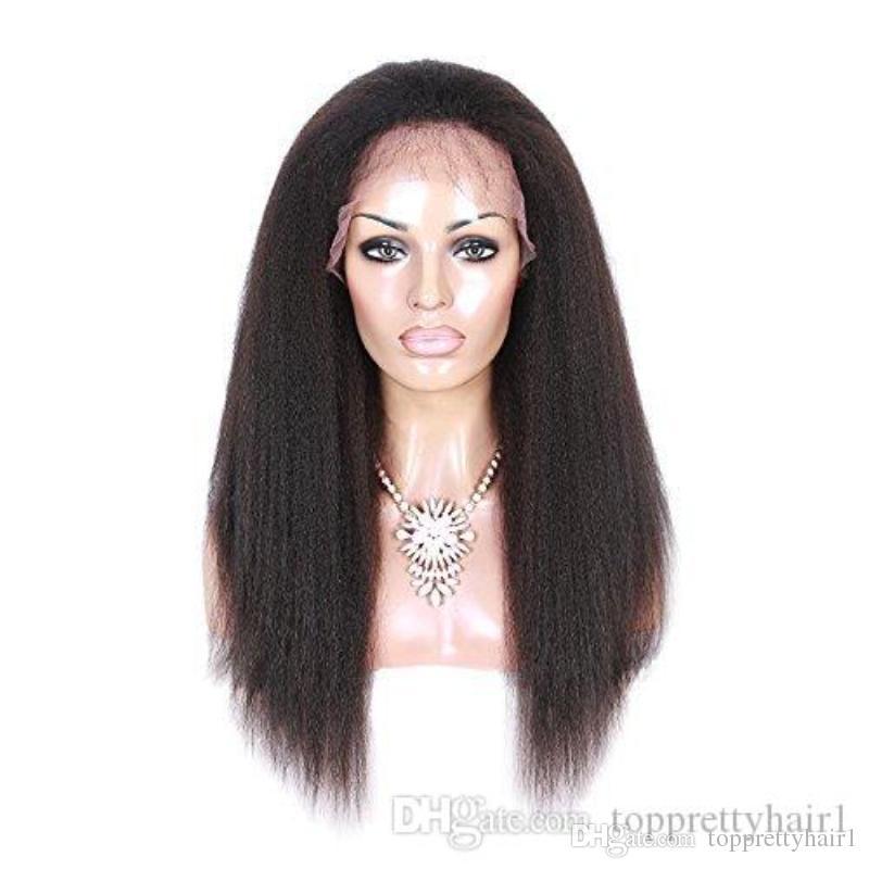 Perruque avant de lacet de cheveux humains droite crépue avec des cheveux de bébé préplucked vierge sans colle vierge brésilienne grossière italienne Yaki Full Lace perruques pour les femmes