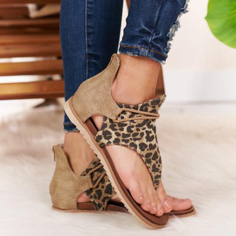 HEFLASHOOR 2020 Nuevo Diseño estampados de leopardo Zapato con cierre de mujeres de las sandalias del partido Pisos con cordones de los zapatos de verano de la sandalia del tamaño 36-42
