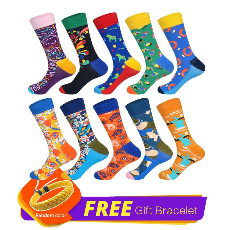 2019 LIONZONE 10Pairs/Lot Happy Socks Funny Wedding Gifts for Men Harajuku Hip Hop Men Art Socks Long Cotton Calcetines + Free Gift