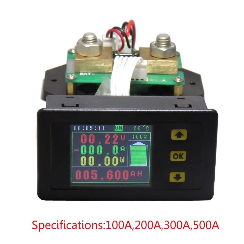 DC 120v 100A 200A 500A ЖК-дисплей комбинированный измеритель напряжения тока тока кВтч Ваттметр 12v 24v 48v 96V емкость батареи мониторинг мощности