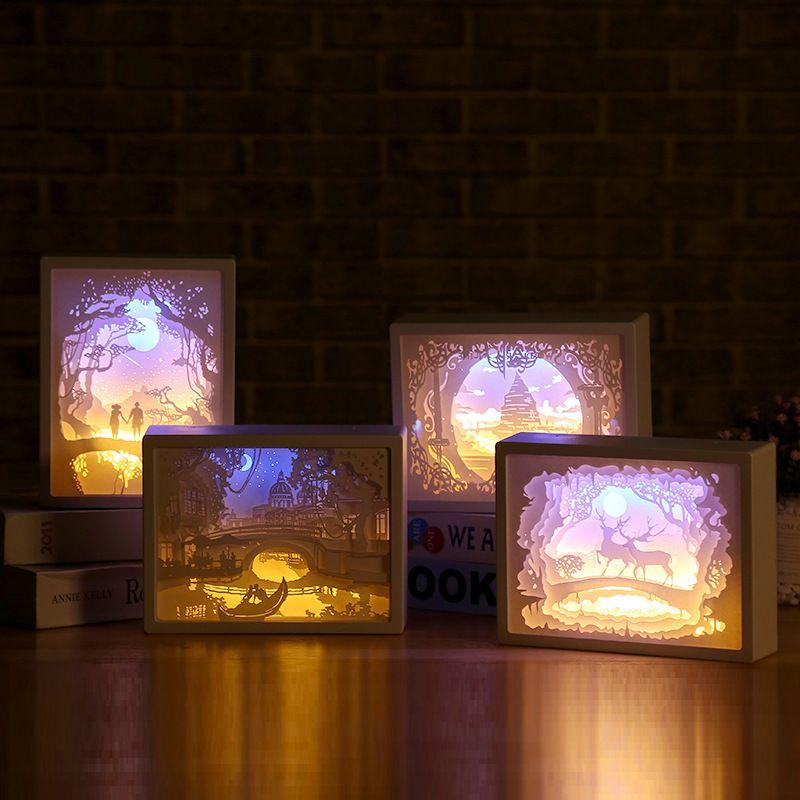 Kağıt Oyma Lambası Yaratıcı Masaüstü Kitap Işık Romantik Severler Fotoğraf Çerçevesi Lamba Başucu Masa Lambası LED Gece Lambası