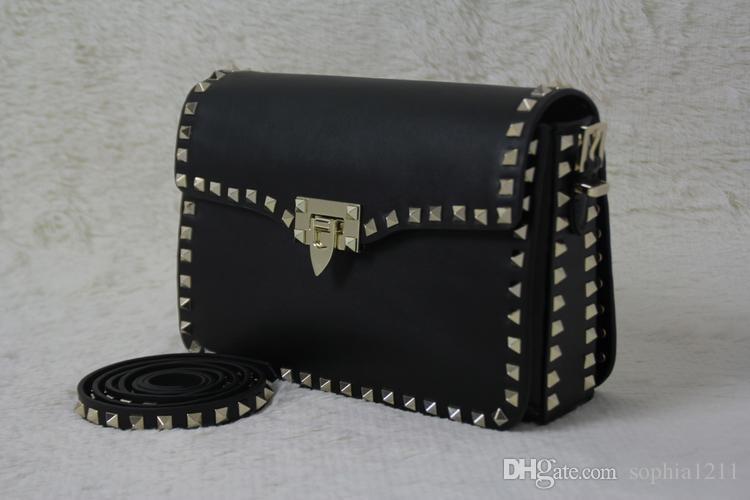 Factory Wholesale Genuine Leather Women Bag Handbag Shoulder Bag Golden Rivets Valentine S Day Bags Long Shoulder Strap Black Color