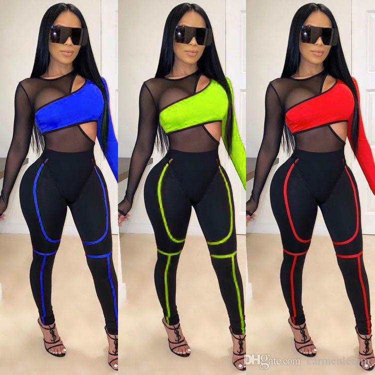 2020 İlkbahar İki Adet Set Kadınlar Uzun Kollu Top Seksi Gazlı bez Uzun Pantolon Night Out Clubwear Parti Kıyafet Eşofman BODYCON Elastik Kıyafetler