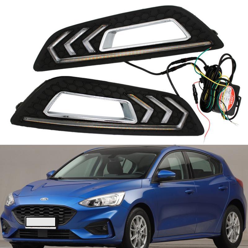 Voiture clignotant de LED blanche spéciale voiture Daylight LED éclairage diurne Modifié Mustang lampe Fit pour 15-17 Ford Focus éclairage de la voiture