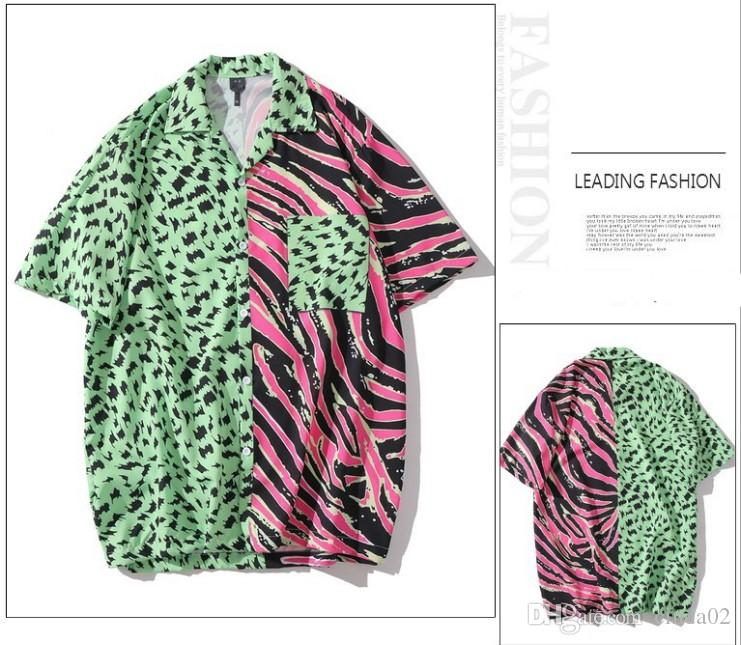 Мужчины Гавайская Рубашка В Полоску Зебра Леопард Пэчворк Принт 2020 Хип-Хоп Рубашка Уличная Одежда Короткий Рукав Лето Пляж