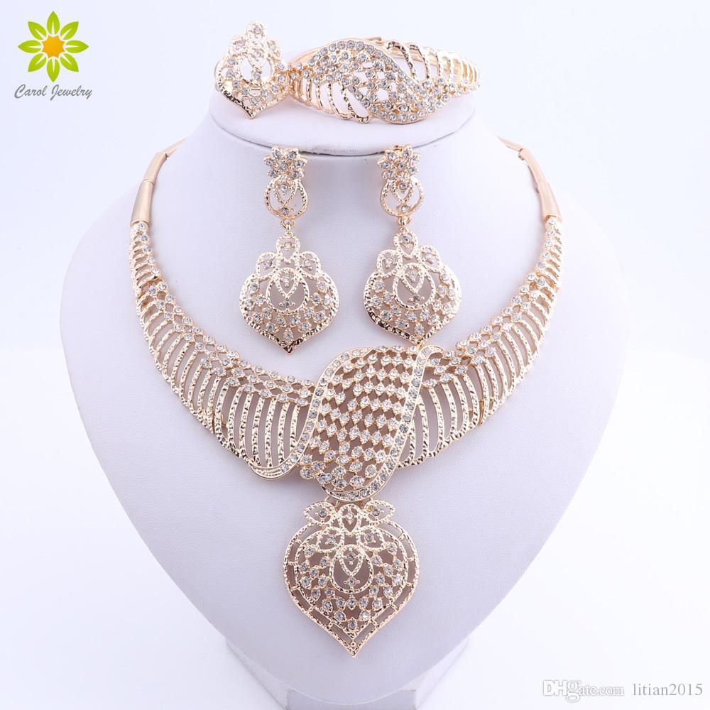 Conjuntos de Jóias de Casamento das mulheres Para Noivas Banhado A Ouro Traje Colar Brincos Set Moda Indiano Africano Beads Jewelry Set