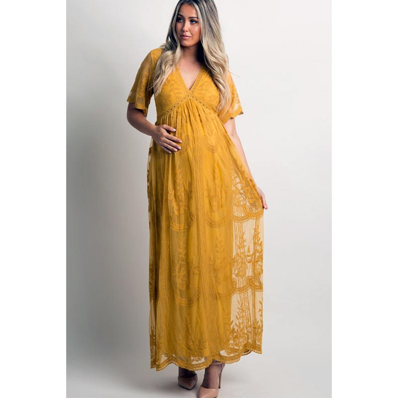 lace pregnant clothes V-neck solid bohemian maternity dress ankle-length maxi dress gown for beath party photo shooting props