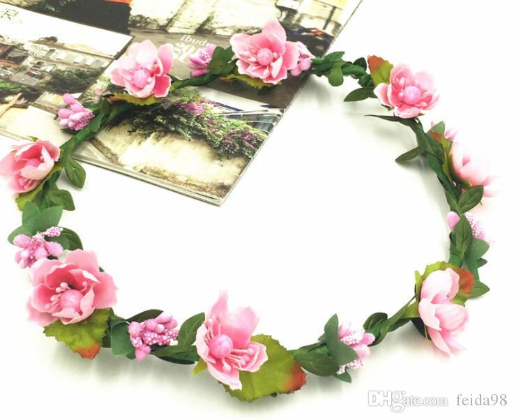Mädchen Hochzeit Blumenkrone Kranz Bohemian Rebe Adjustable Yarn Garland süße Haar-Band-Accessoires für die Braut Brautjungfer 30pcs / lot GB615