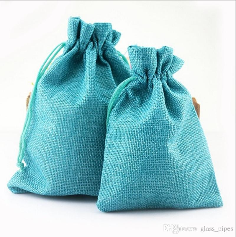 Blank Gift Bags Cotton Linen Drawstring Bag Monogrammable Jewelry Wraps Craft Wedding Party Favor 14 Colors 7*9cm Wholesale YW3112