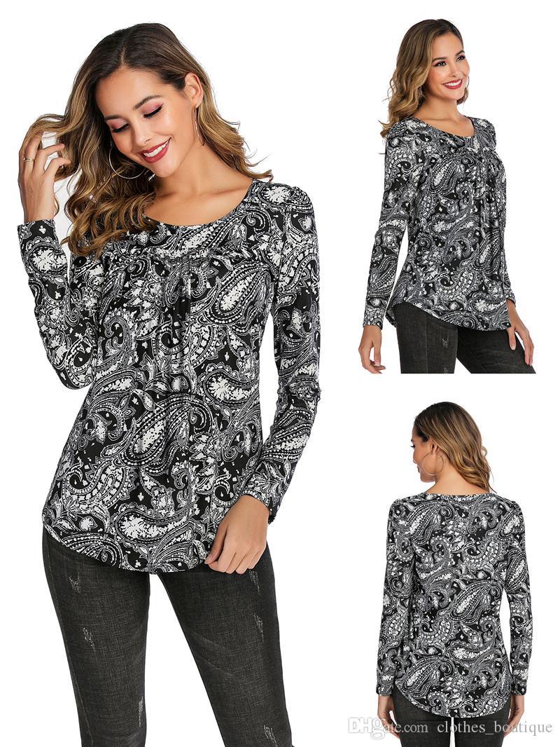 Boho impresión floral Camisetas de manga larga ocasionales de las mujeres remata las blusas sueltas