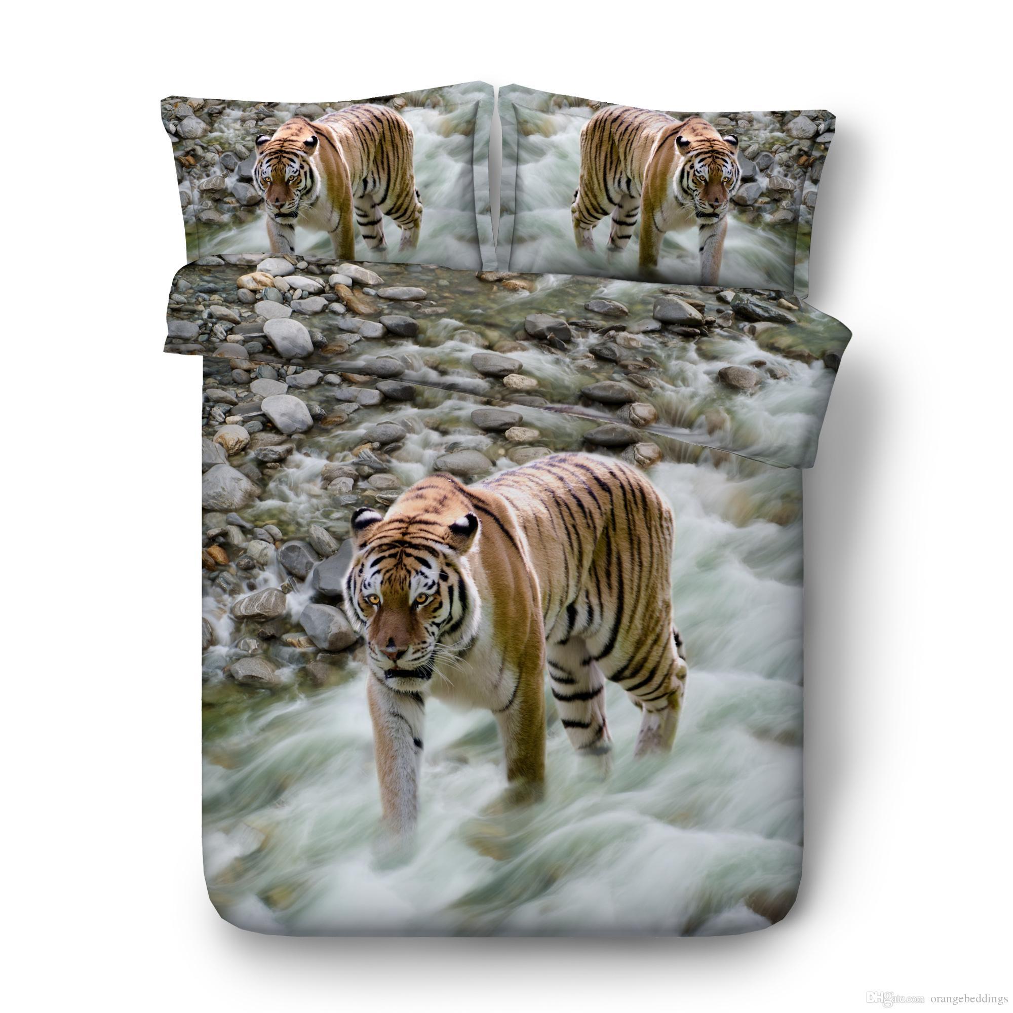 White Tiger Stampa Ragazzi letto di 3PC consoli copripiumino Digital 3D Print 3PCS 1 copripiumino 2 Pillow Shams animali chiare