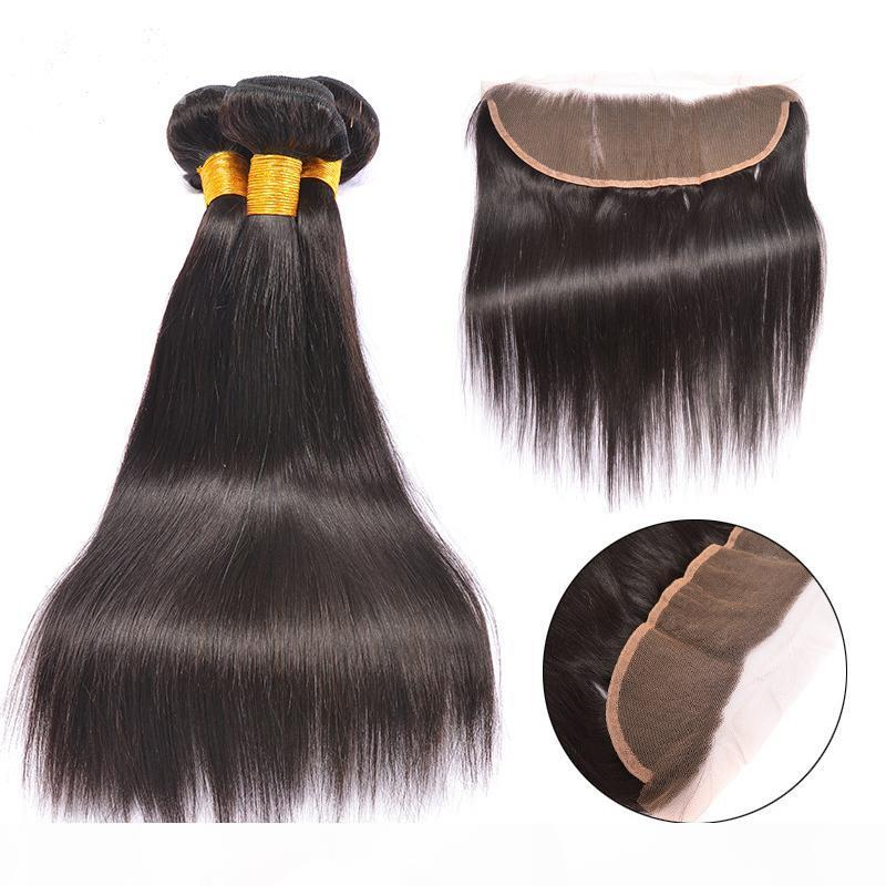 Malaysian Hair Bundles with Lace Frontals 7A Malaysian Hair Straight with Closure 100% Human Hair Weave And Ear to Ear lace Closures