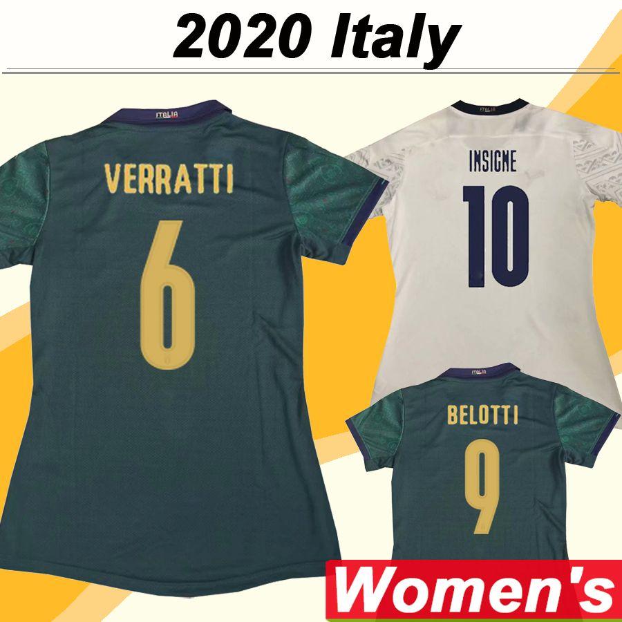 2020 إيطاليا VERRATTI BERNARDESCHI المرأة لكرة القدم الفانيلة كيليني الشعراوي INSIGNE بعيدا الزي الرسمي قمصان 3RD كرة القدم بونوتشي BELOTTI سيدة