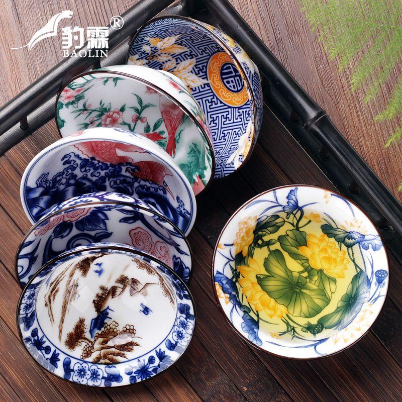jingdezhen tigela de cerâmica com a amostra xícara de chá pintada à mão única branca jogo de chá de porcelana de chá mestres copo copo pequeno chapéu