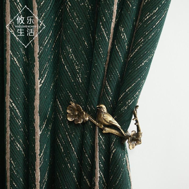Europäische einfach ins Stil moderner Wohnzimmer Vollton dunkelgrünen retro grün amerikanisches Licht Luxus Wind Vorhang Fischgrätenmuster