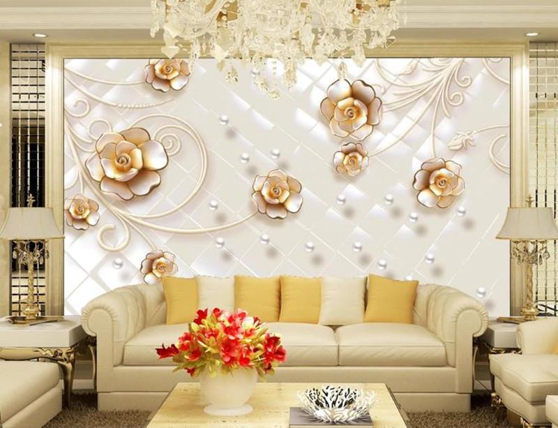 Personalizada foto del papel pintado pintura 3D flores realzadas murales Sala de TV contexto del sofá del papel pintado Hogar moderno habitación de la decoración