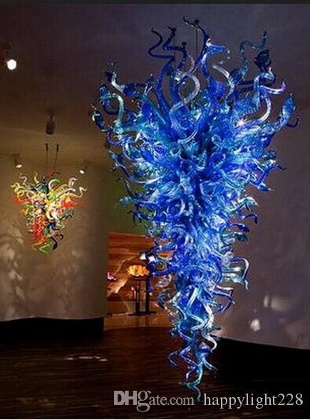 Tipo Contemporanea e Blu Colore Fancy grande lampadario LED Chihuly Style Iniziale Hotel Suspention Indoor