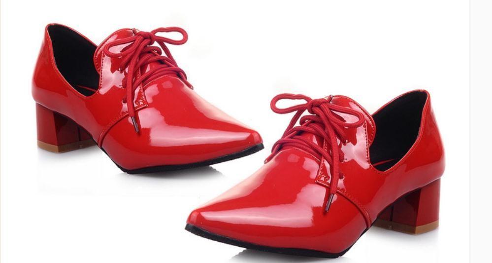 JJJJ6999 @ 새로운 스타일의 미들 힐 거친 발 뒤꿈치 끝이 뾰족 봄과 가을에 2019 여성의 신발