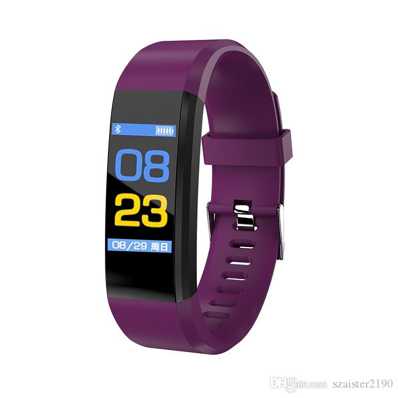 115Plus Bluetooth USB Fitness Bracelet Health Tracker 0.96 inch Color Screen Heart Rate Monitor Digital Watch Sport Wristband