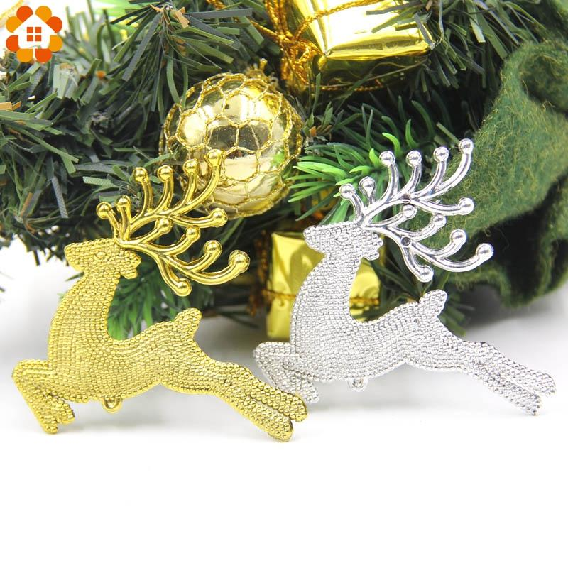 6PCS/Lot Gold & Silver Cute Elk Christmas Tree Pendant Ornaments For Home Christmas Party Decorations DIY Kids Gifts Supplies