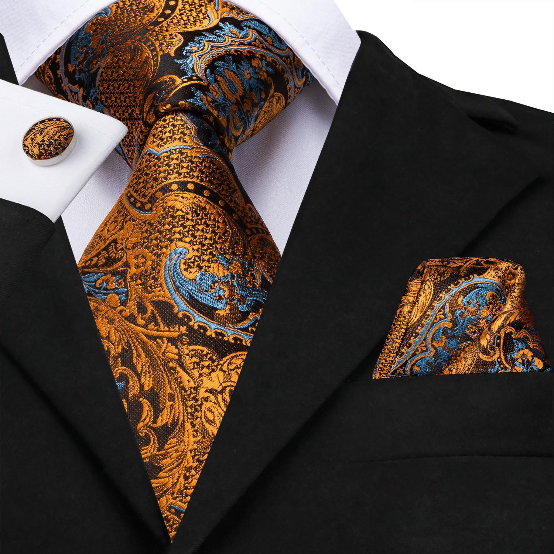 سريع الشحن رجل الحرير العلاقات مصممين أزياء أصفر أسود بيزلي التعادل هانكي أزرار أكمام مجموعات للرجال حزب الزفاف الرسمي العريس N-3523