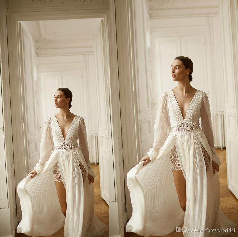 2020 Chiffon Beach Wedding Dresses Deep V Neck Long Sleeve A Line Side Split Bridal Dresses Boho Lace Wedding Gowns