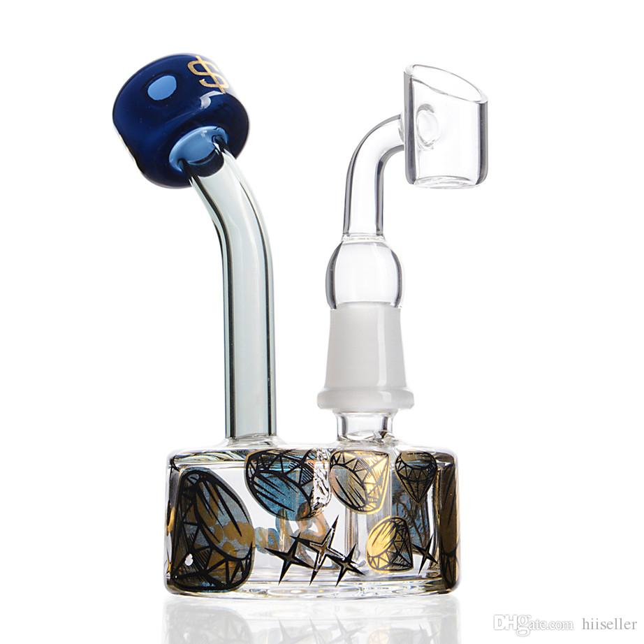 Base del becher Bong Bong Fumatori di vetro Tubi d'acqua Attrementi dell'olio Pannelli di vetro di vetro spesso Bongs Unici narghilè Shisha con 14mm Banger 4.9 pollici