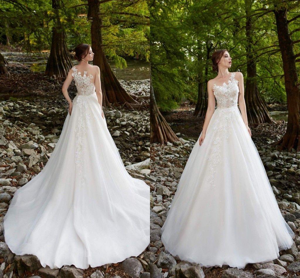2019 A Line White Wedding Dresses One Shoulder Lace Appliqued Sweep Train Boho Wedding Dress Plus Size Custom Made Garden Bridal Gowns