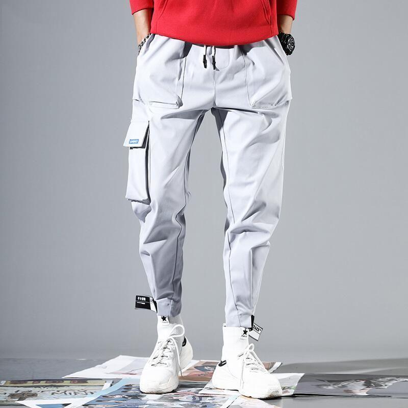 2019 Homens Multi-bolso Cintura Elástica Projeto Harem Pant Street Punk Hip Hop Calças Casuais Calças Corredores de Carga Masculina Do Exército Vermelho Xxxl Y19073001