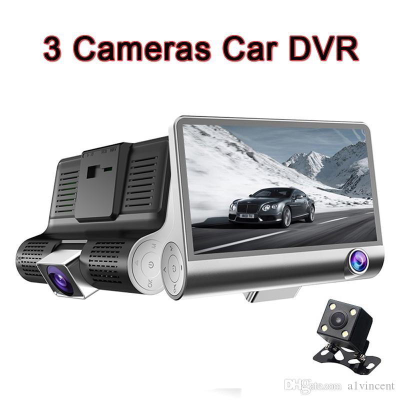 30PCS DHL سيارة DVR 3 كاميرات عدسة داش كاميرا 4.0 بوصة عدسة مزدوجة مع الرؤية الخلفية كاميرا فيديو ومسجلات السيارات Registrator مسجلات الفيديو الرقمية كاميرا داش