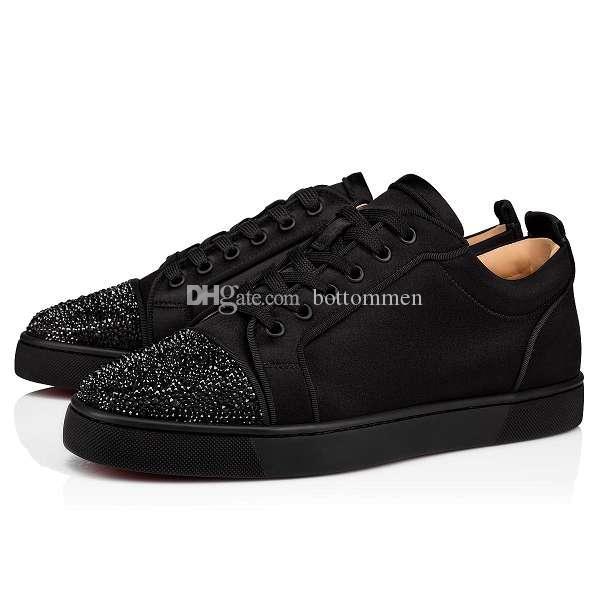 2019 Мужские кроссовки с красной подошвой Черная замша со стразами Низкая Мода Кроссовки с красной подошвой Junior Luxury Design Повседневная обувь
